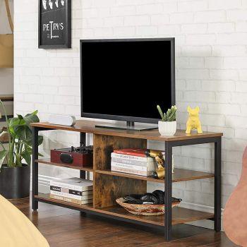 Tv-meubel James 110 cm 2 legplanken - rustiek bruin/zwart