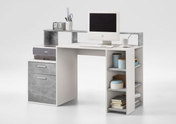 Bureau Elton 139cm - beton/wit