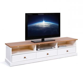 Meuble tv Westerland 180cm campagne - blanc