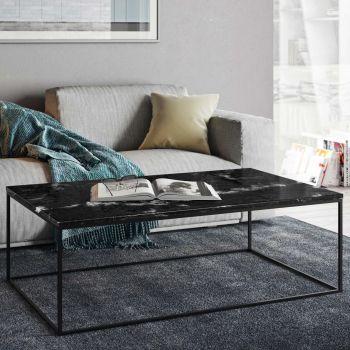 Salontafel Gleam 120x75 - zwart marmer/staal