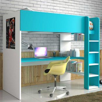 Hoogslaper Beau met bureau - wit/blauw