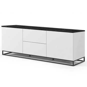 Dressoir Join 180cm met metalen onderstel, 2 deuren en 2 laden - mat wit/zwart marmer