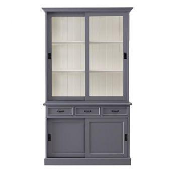 Vaisselier Vicenza à 4 portes & 3 tiroirs - gris/blanc