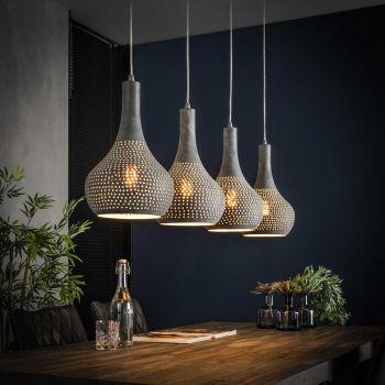 Hanglamp Cone 4 lampenkappen - grijs