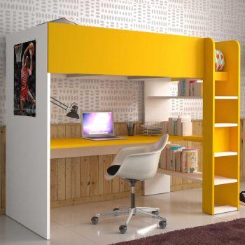 Hoogslaper Beau met bureau - wit/geel