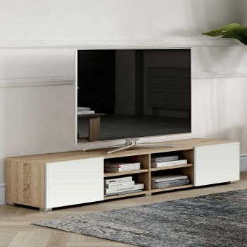 Tv-meubel Podium 185 cm - eik/wit