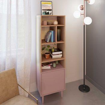 Boekenkast Horizon klein - eik/roze