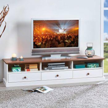 Tv-meubel Westerland 180cm landelijk - wit/bruin
