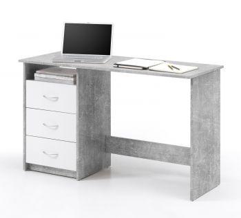 Bureau Adriano 123cm met 3 lades - beton/wit