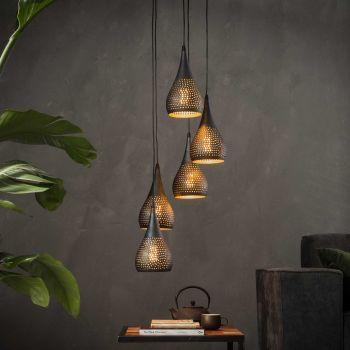 Hanglamp 5x Ø15 getrapt punch - Zwart bruin