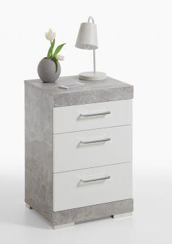 Nachtkastje Cristal - beton/hoogglans wit