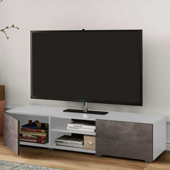 Tv-meubel Podium 140 cm - wit/beton