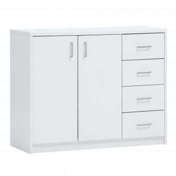 Commode Spacio 2 deuren & 4 laden H 84cm - wit