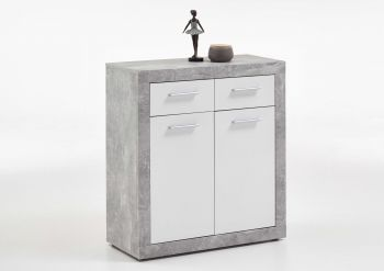 Commode Turbo met 2 deuren & 2 laden - beton/hoogglans wit