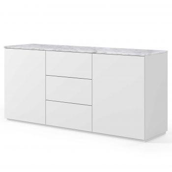 Dressoir Join 180cm met 2 deuren en 3 laden - mat wit/wit marmer