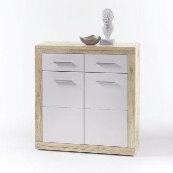 Commode Brekalo 82 cm met 2 deuren & 2 lades - san remo eik/wit