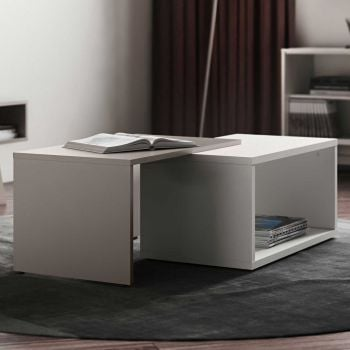 Salontafel Box - wit/taupe