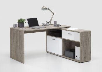 Bureau d'angle Diego - chêne gris/blanc brillant