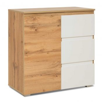 Armoire d'appoint Image 1 porte & 3 tiroirs - chêne/blanc