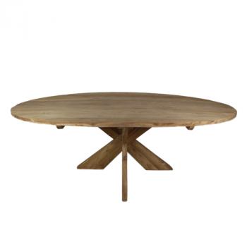 Table à manger Mosy 180x100 ovale au pied croisé - naturel/teak