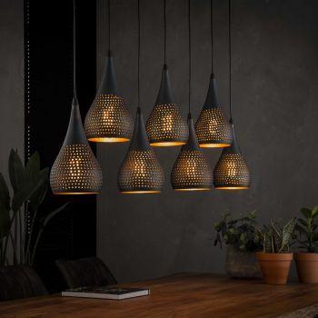 Hanglamp 7x Ø15 druppel punch - Zwart bruin