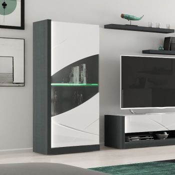 Vitrinekast Eloa 70cm met 1 deur - hoogglans wit/zwart
