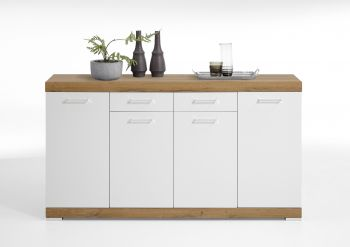 Commode Cristal 4 deuren en 2 laden 160x90x35 - oude eik/hoogglans wit