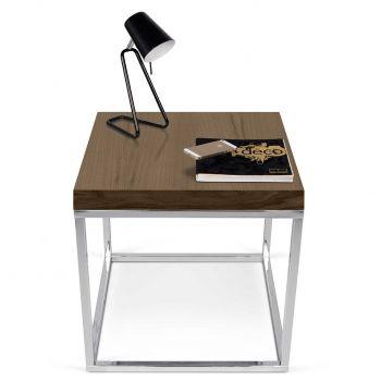 Table d'appoint Pride - noyer/pieds chromés