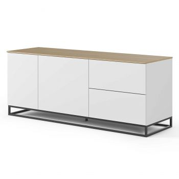 Dressoir Join 160cm met metalen onderstel, 2 deuren en 2 laden - mat wit/eik