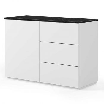 Dressoir Join 120cm met 1 deur en 3 laden - mat wit/zwart marmer