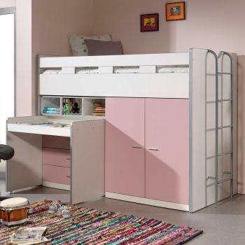 Halfhoogslaper Bonny 70 met bureau, commode en kast - roze