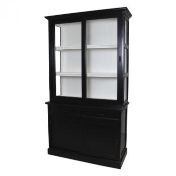 Vaisselier Vicenza à 4 portes & 2 tiroirs - noir/blanc