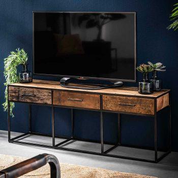 Tv-meubel Florin 135 cm 3 lades - hardhout