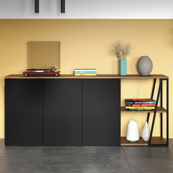 Dressoir Albi 190cm - walnoot/zwart