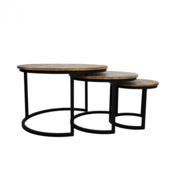 Lot de 3 tables basses Ronin rond – bois de manguier/fer