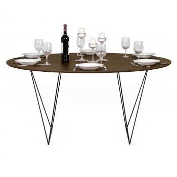 Eettafel Row Ø150 - walnoot/zwart