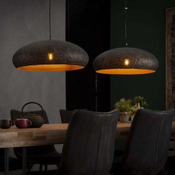 Hanglamp 2xØ53 punch ovaal - Zwart bruin