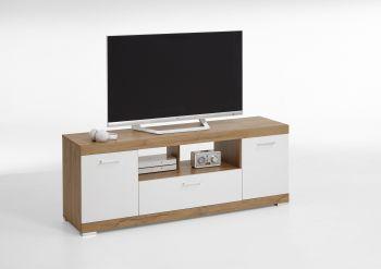 Tv-meubel Cristal 160cm - oude eik/hoogglans wit