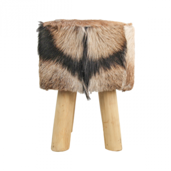 Tabouret Bangku 33x33cm carré - peau de chèvre/teck