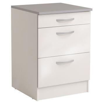Meuble bas Spott 60 cm avec 3 tiroirs - glossy white