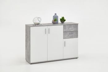 Commode Albi 3 deuren & 2 laden - beton/wit
