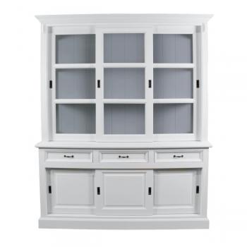 Vaisselier Provence 180cm à 6 portes & 3 tiroirs - blanc/gris