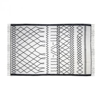 Tapis Boha 230x160 coton - noir/blanc