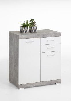 Commode Cristal 2 deuren en 2 laden 80x90x35 - beton/hoogglans wit