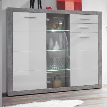 Vitrinekast Stanno 137cm 3 deuren & 2 lades - beton/wit