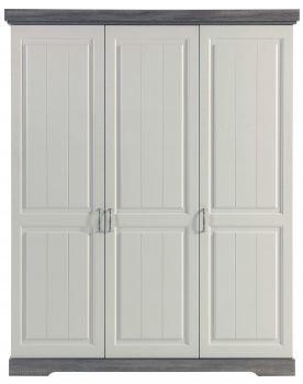 Kledingkast Yves 175cm met 3 deuren - wit/bruin