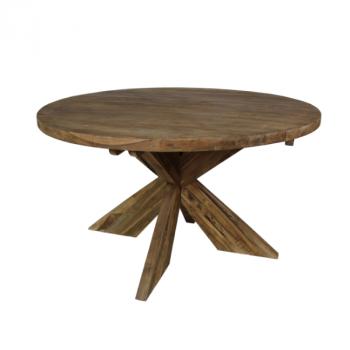 Table à manger Mosy ø130cm ronde au pied croisé - vintage/teak