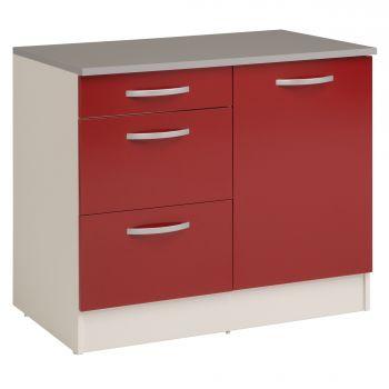 Onderkast Eko 100 cm voor spoelbak met 3 lades en deur - rood
