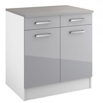 Meuble bas Eli avec 2 tiroirs et 2 portes - gris
