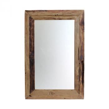 Miroir mural Rustika 80x50cm - bois flotté/teck
